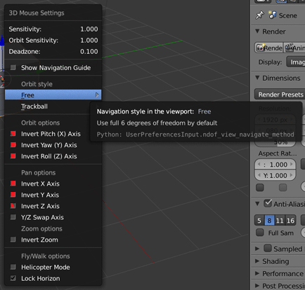 Suggested Blender for Mac 3D mouse settings that don't work